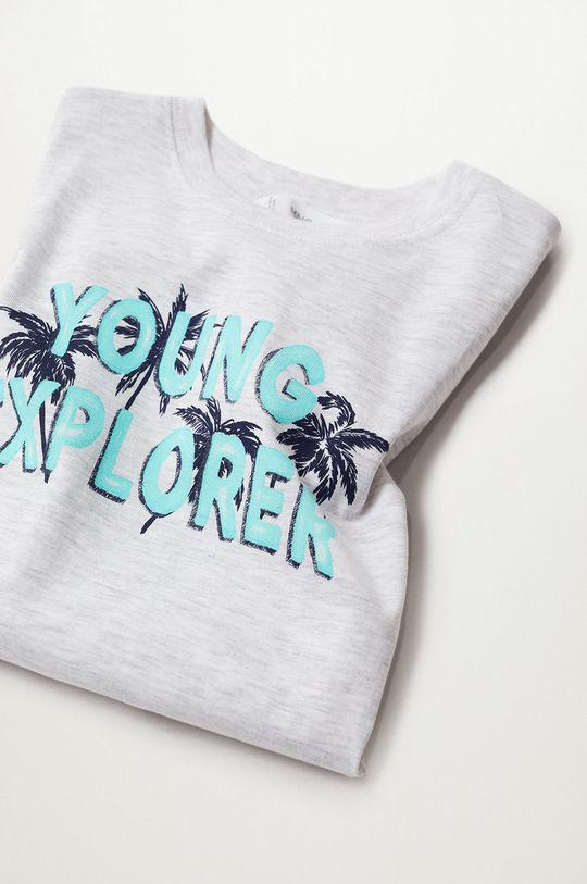 Mango Kids - Detské tričko Young 110-164 cm svetlosivá