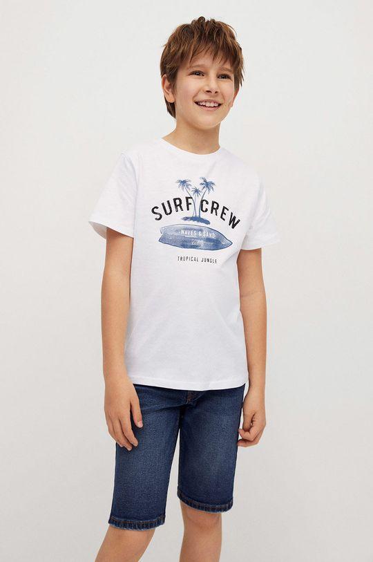 biały Mango Kids - T-shirt dziecięcy Logo 110-164 cm Chłopięcy