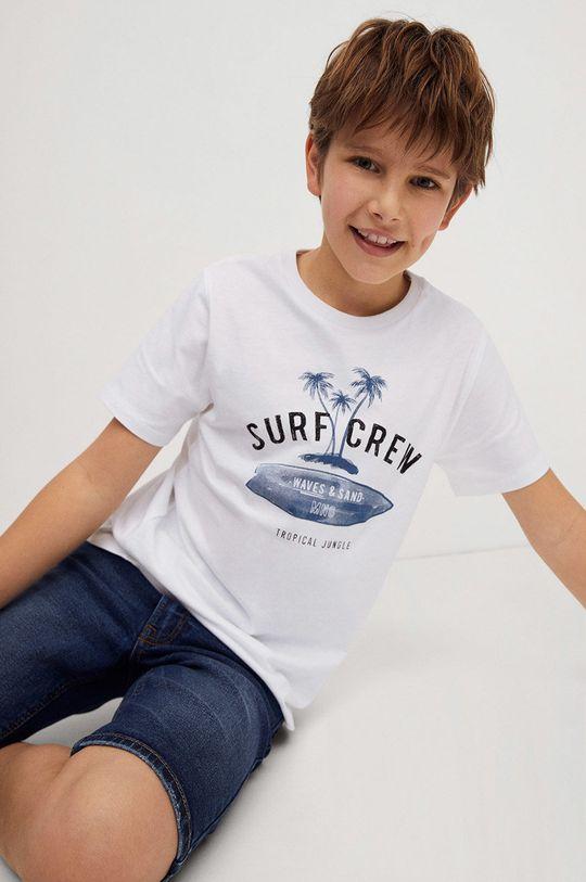 Mango Kids - T-shirt dziecięcy Logo 110-164 cm biały