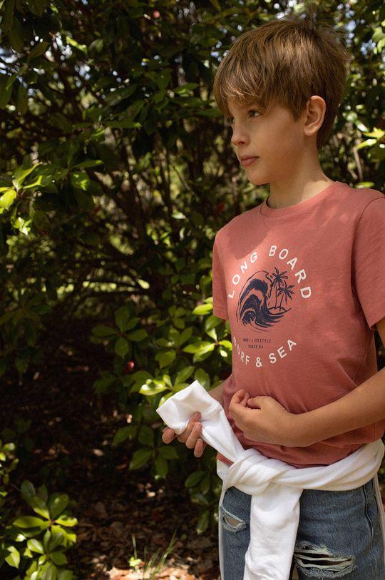 gaštanová Mango Kids - Detské tričko Logo 110-164 cm Chlapčenský