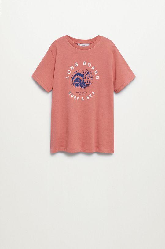 Mango Kids - Detské tričko Logo 110-164 cm gaštanová