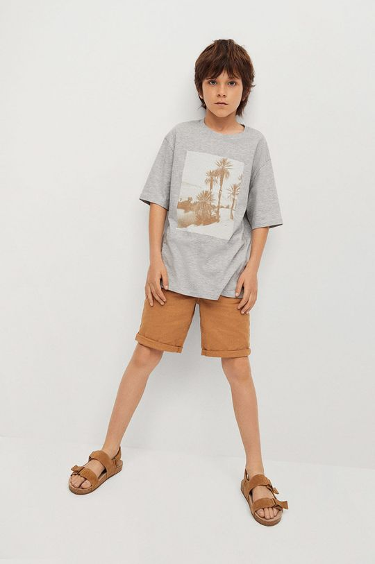 Mango Kids - Detské tričko Sunset 116-164 cm sivá