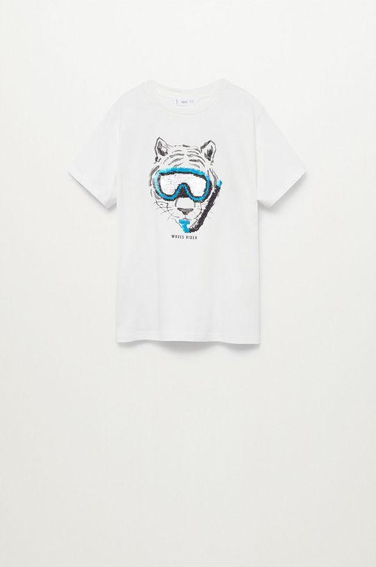 biały Mango Kids - T-shirt dziecięcy Waves 110-152 cm Chłopięcy