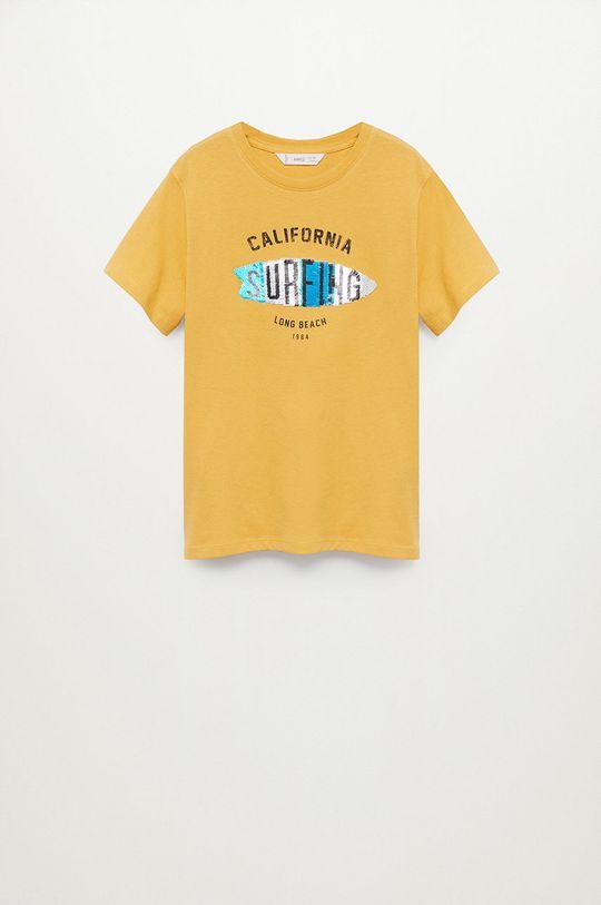 žltá Mango Kids - Detské tričko Waves 110-152 cm Chlapčenský