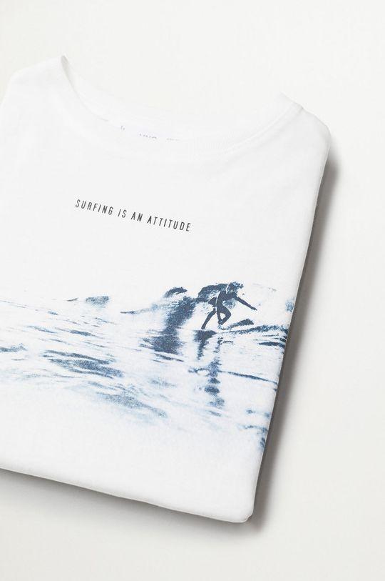 Mango Kids - T-shirt dziecięcy SURFER biały