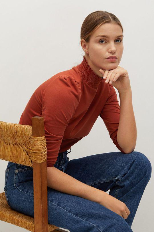 kaštanová Mango - Tričko s dlouhým rukávem VICKY