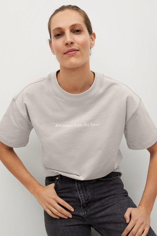 jasny szary Mango - T-shirt Pstbig Damski