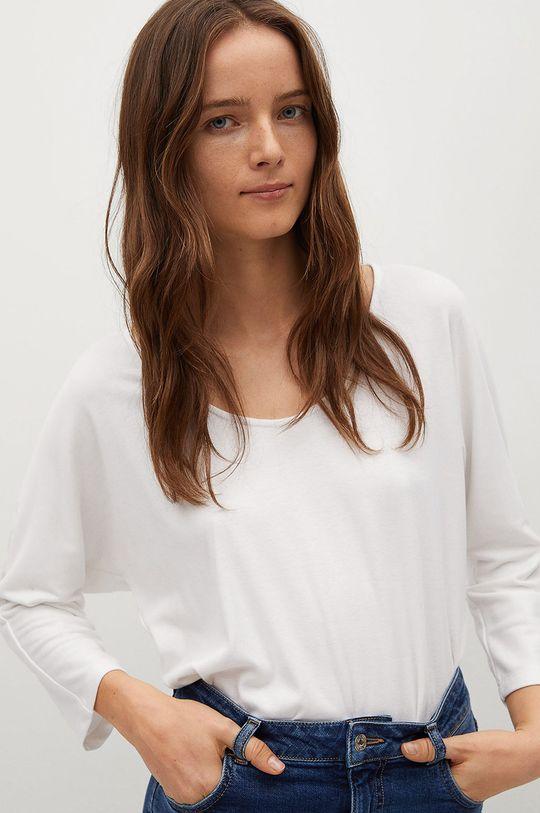 bílá Mango - Tričko s dlouhým rukávem CAMILA Dámský