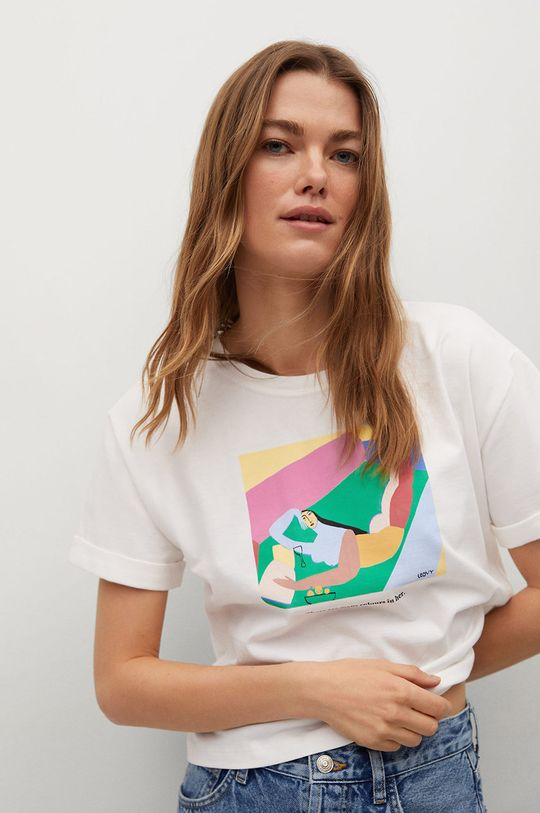 biały Mango - T-shirt Pswoman3 Damski