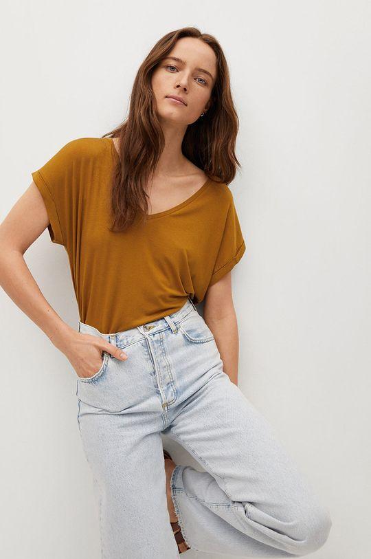piaskowy Mango - T-shirt Vispi Damski