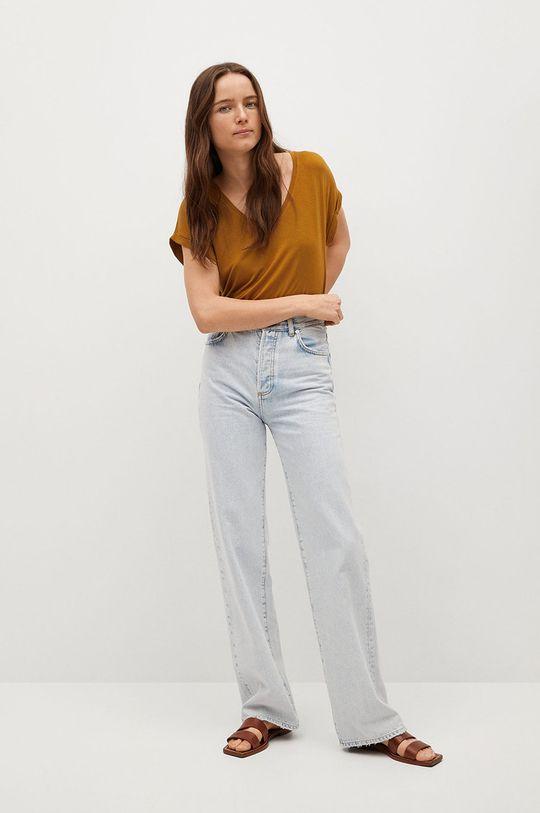 Mango - T-shirt Vispi piaskowy