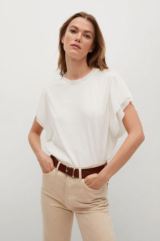 biały Mango - T-shirt PLISE Damski