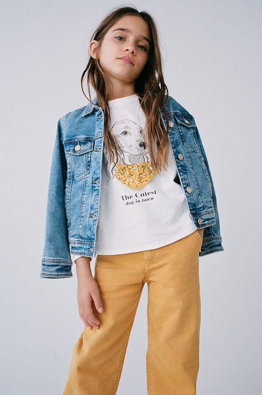 biela Mango Kids - Detské tričko s dlhým rukávom BROOK Dievčenský