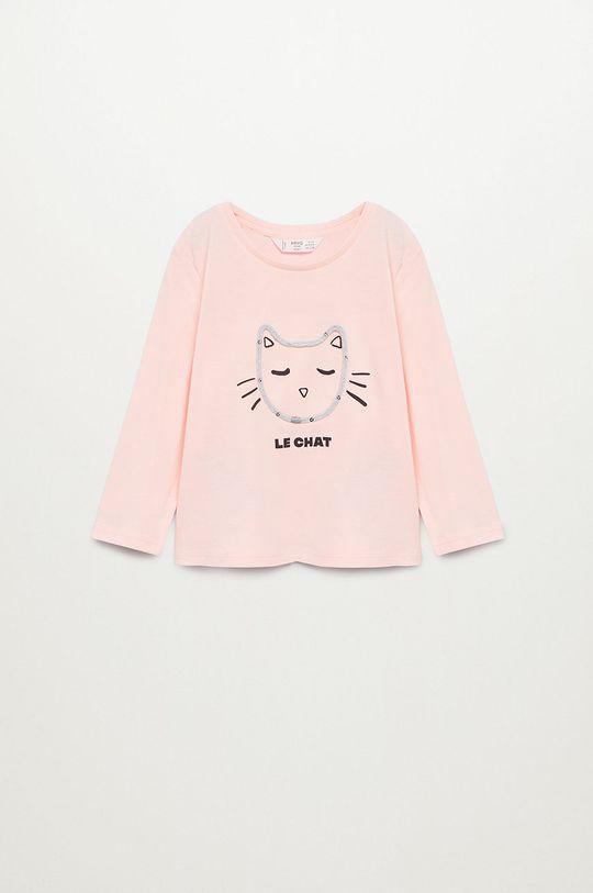pastelová ružová Mango Kids - Detské tričko s dlhým rukávom CORDILL Dievčenský