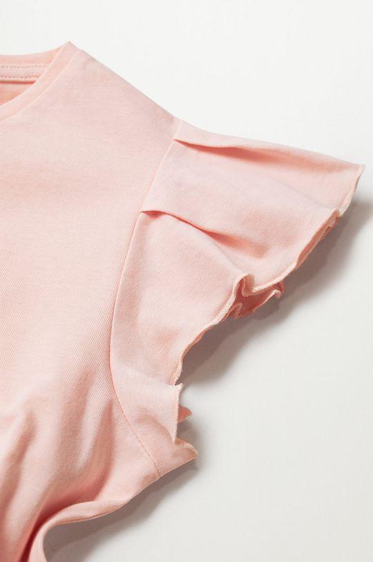 Mango Kids - Detské tričko Soft 110-164 cm pastelová ružová
