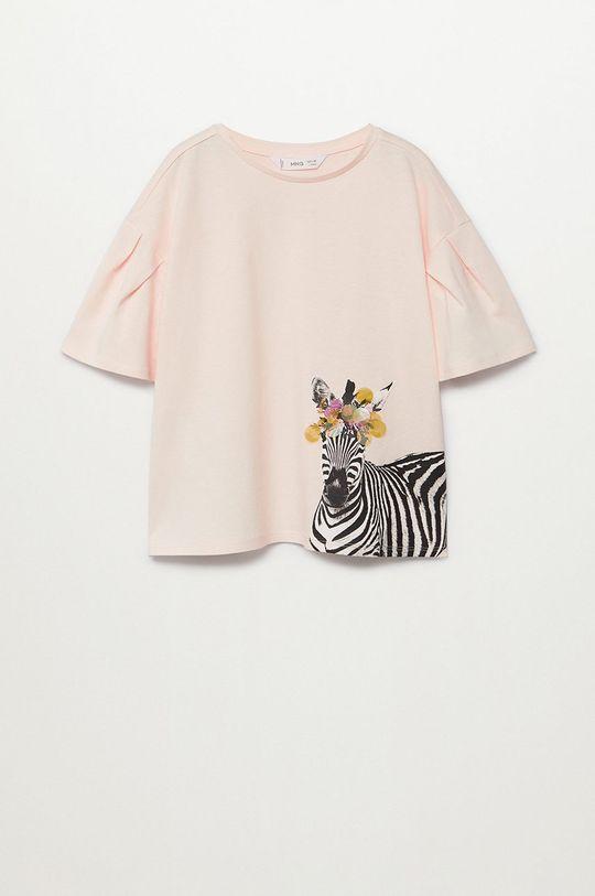 pastelově růžová Mango Kids - Dětské tričko ANIMALS Dívčí