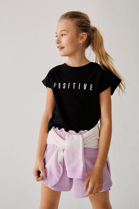 černá Mango Kids - Dětské tričko PRESENT Dívčí