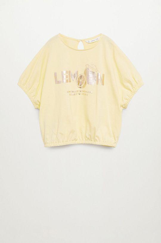 žlutá Mango Kids - Dětské tričko WORDS Dívčí