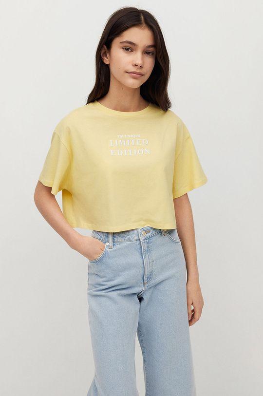 Mango Kids - T-shirt dziecięcy Hero żółty