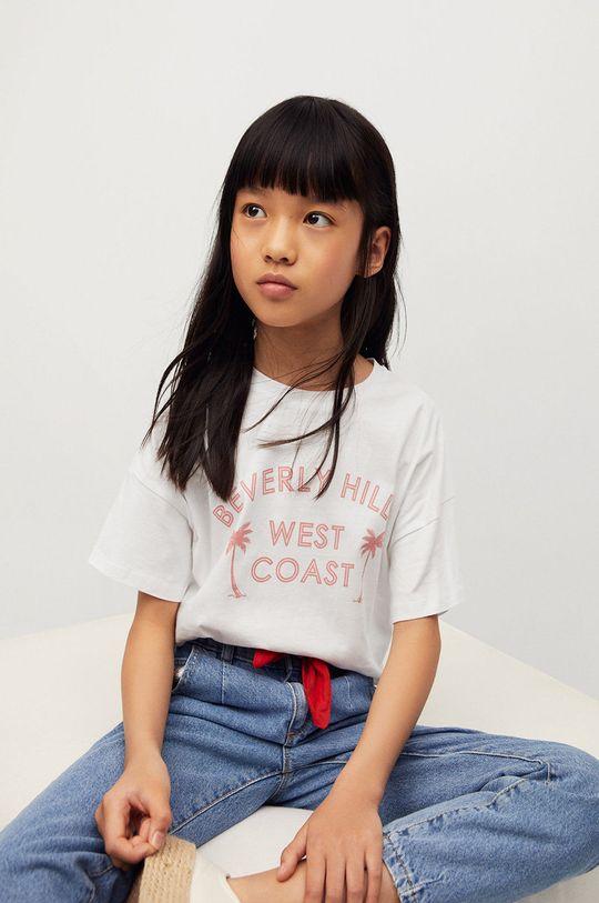 biały Mango Kids - T-shirt dziecięcy Nica 116-164 cm Dziewczęcy