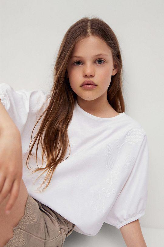 Mango Kids - Detská bavlnená blúzka Terra 116-164 cm biela