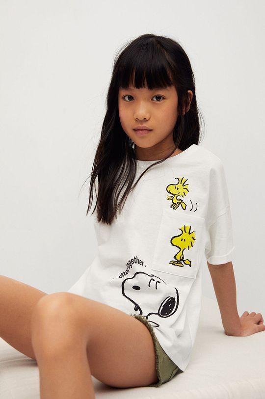 biały Mango Kids - T-shirt dziecięcy Emilio-I 116-164 cm Dziewczęcy