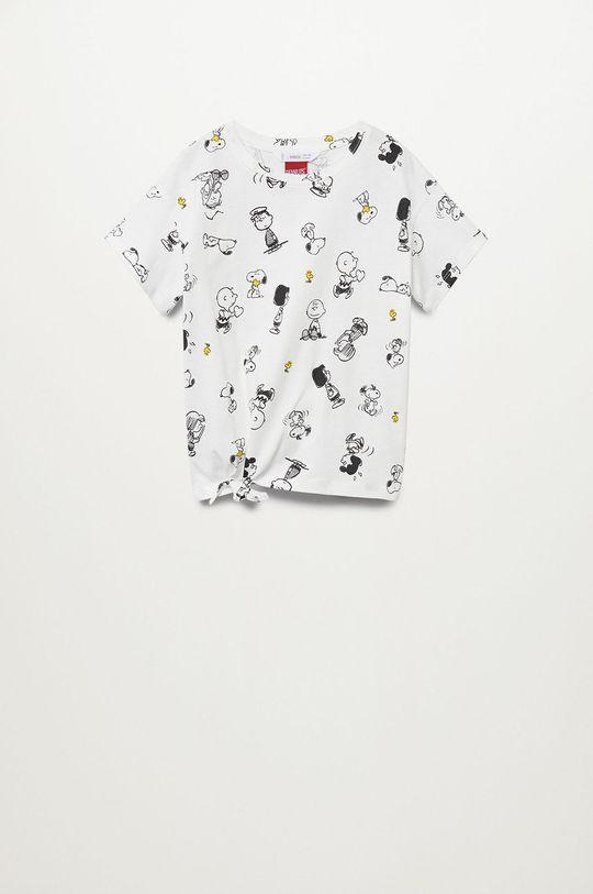 biały Mango Kids - T-shirt dziecięcy Sfamily-I 116-164 cm Dziewczęcy
