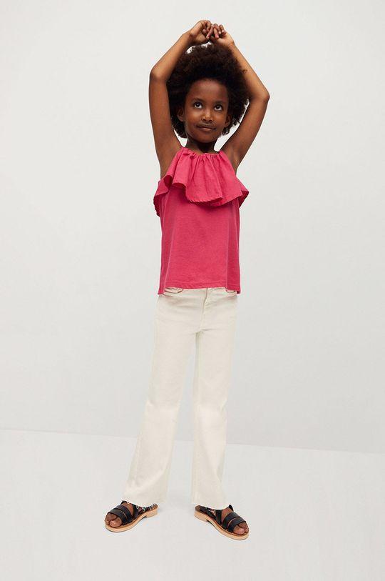 Mango Kids - Top dziecięcy Aries 110-164 cm różowy