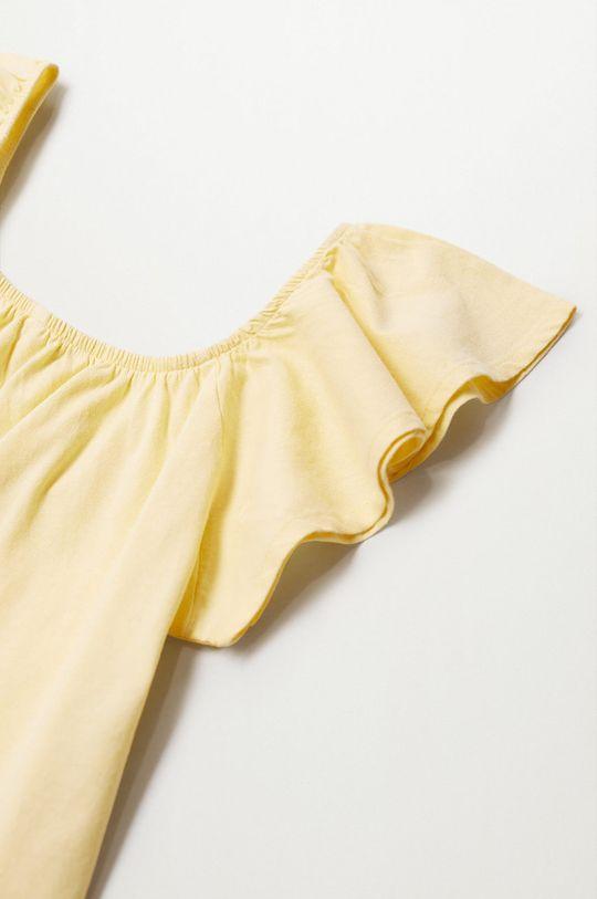 Mango Kids - Detská bavlnená blúzka Geminis 116-164 cm žltá