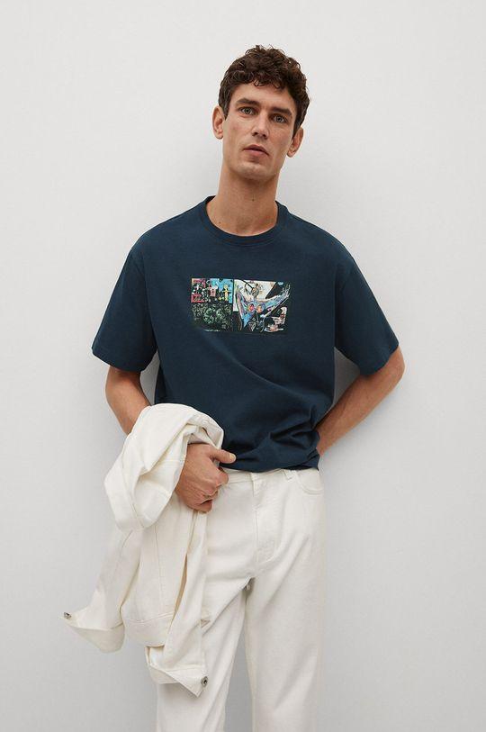niebieski Mango Man - T-shirt Michel Męski