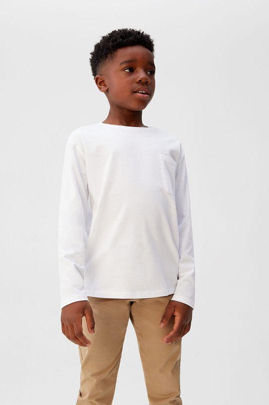 alb Mango Kids - Longsleeve copii Basic5 110-164 cm De băieți