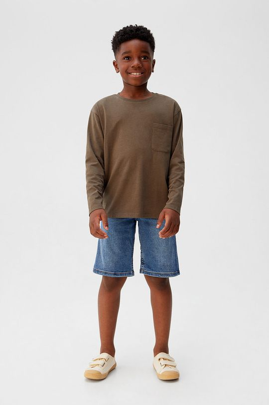 Mango Kids - Longsleeve copii Basic5 110-164 cm maro auriu