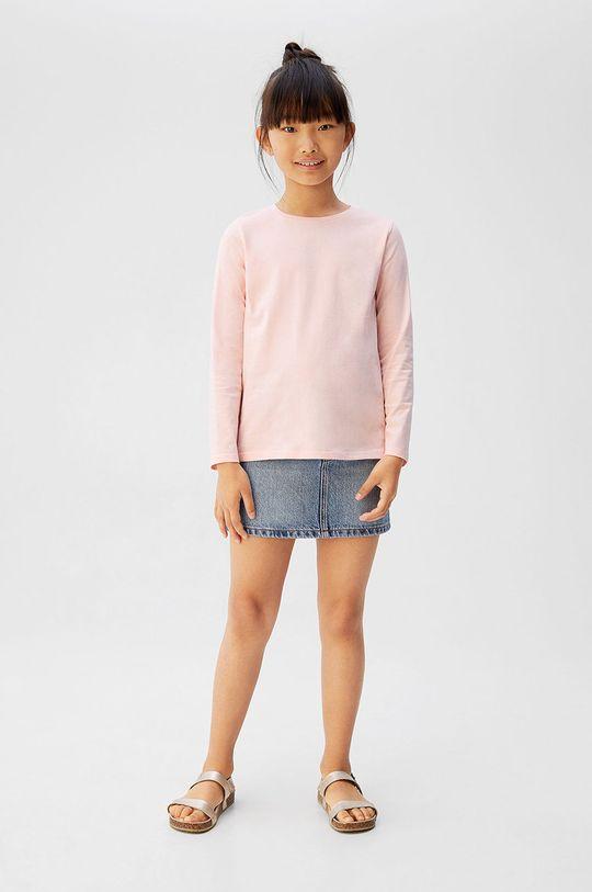 Mango Kids - Longsleeve copii BasicG5 roz pastelat