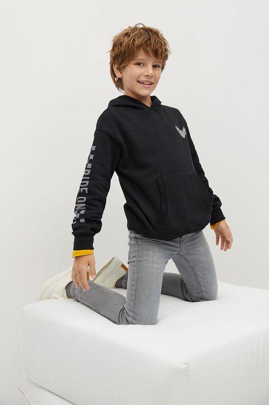 čierna Mango Kids - Detská bavlnená mikina Ride 110-164 cm Chlapčenský