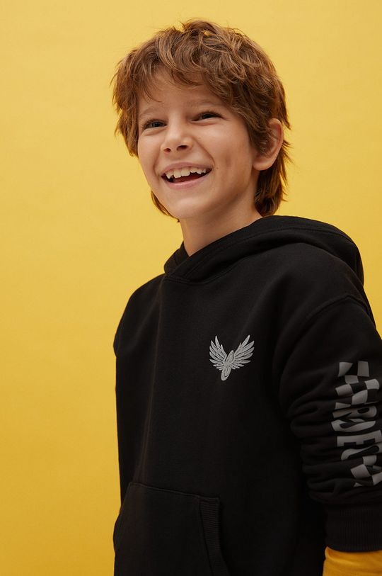 Mango Kids - Detská bavlnená mikina Ride 110-164 cm čierna