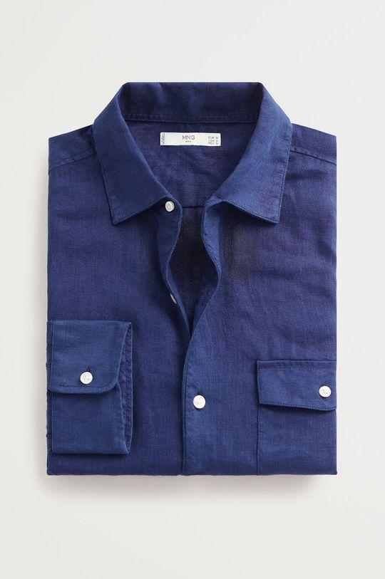 tmavomodrá Mango Man - Bavlnená košeľa Talper Pánsky