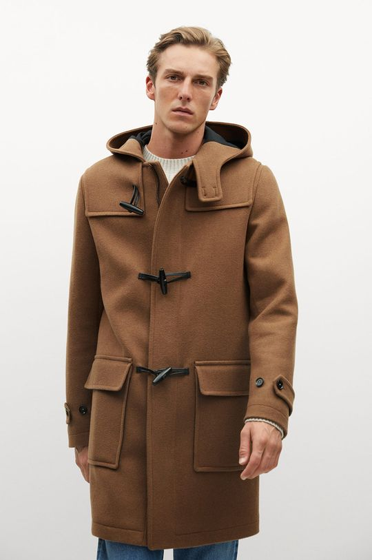 hnedá Mango Man - Kabát FARO Pánsky