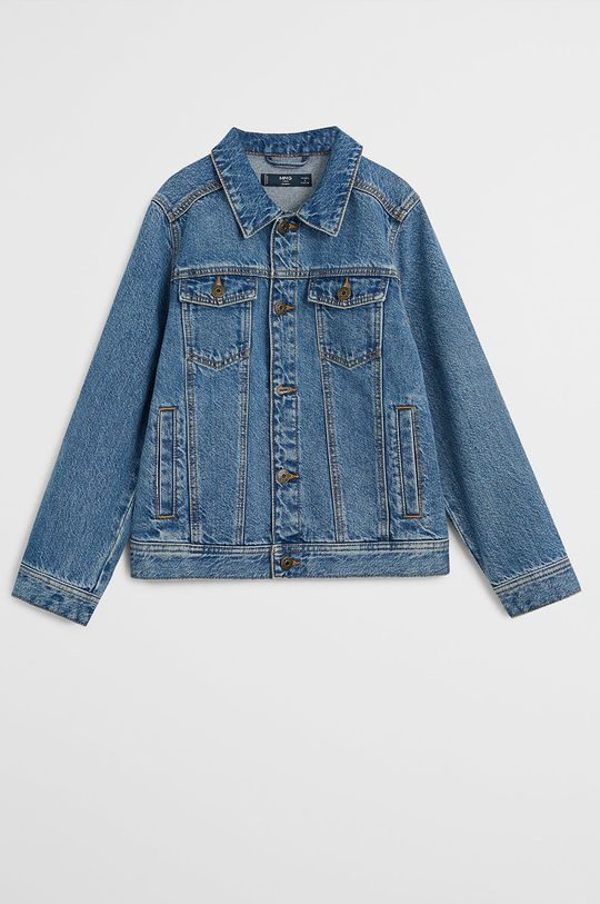 niebieski Mango Kids - Kurtka jeansowa dziecięca John 110-164 cm Chłopięcy