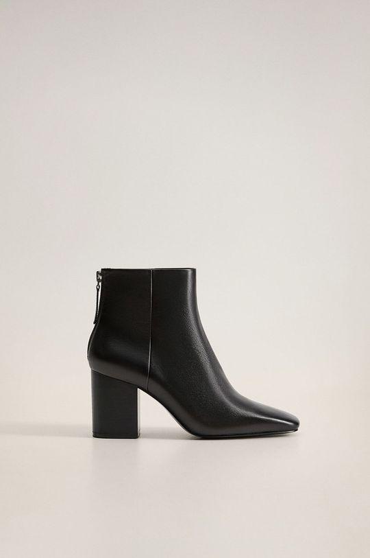 čierna Mango - Kožené členkové topánky Alba Dámsky