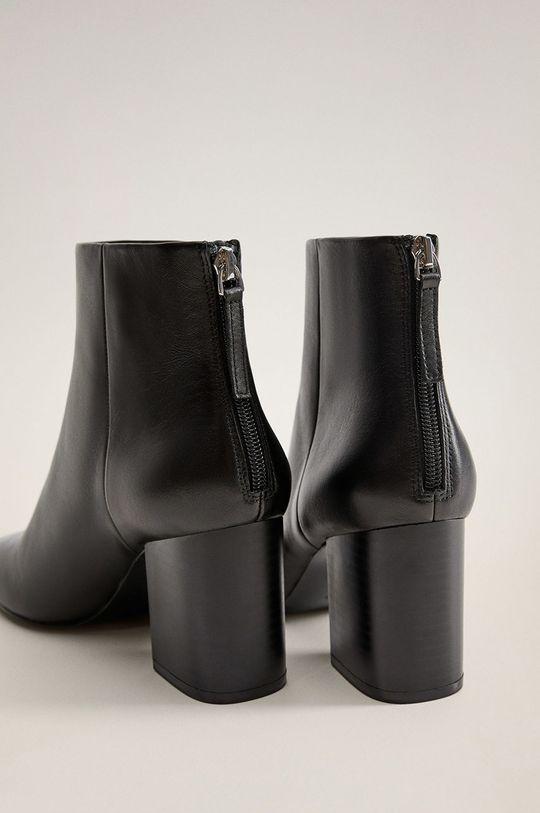 čierna Mango - Kožené členkové topánky Alba