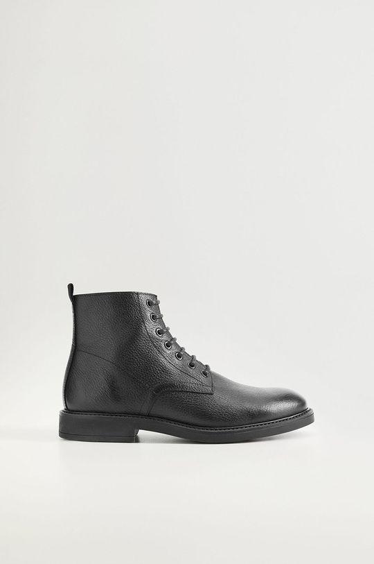 čierna Mango Man - Kožené topánky Bombeado Pánsky