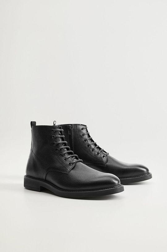 Mango Man - Kožené topánky Bombeado čierna