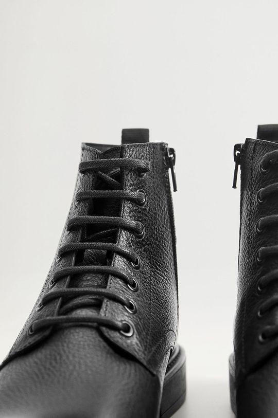 čierna Mango Man - Kožené topánky Bombeado