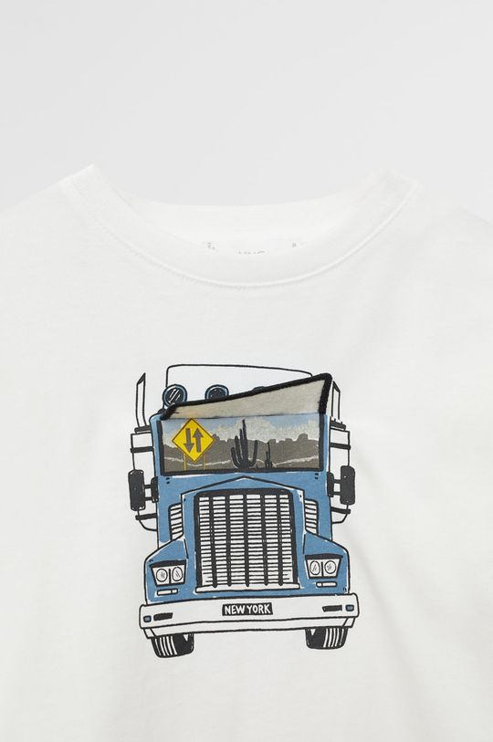 alb Mango Kids - Tricou copii Flap 110-152 cm