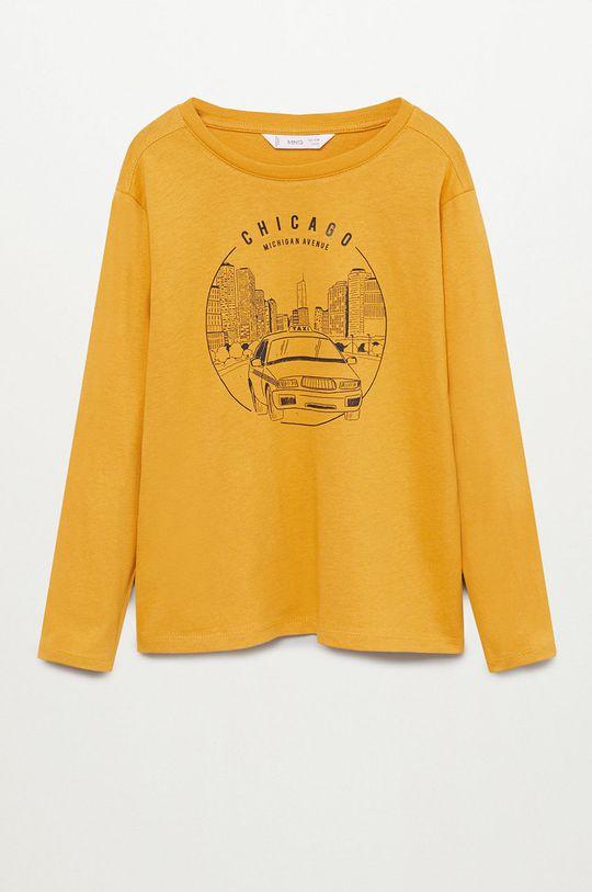 žltá Mango Kids - Detské tričko s dlhým rukávom Cities Chlapčenský