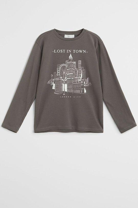 sivá Mango Kids - Detské tričko s dlhým rukávom Cities Chlapčenský