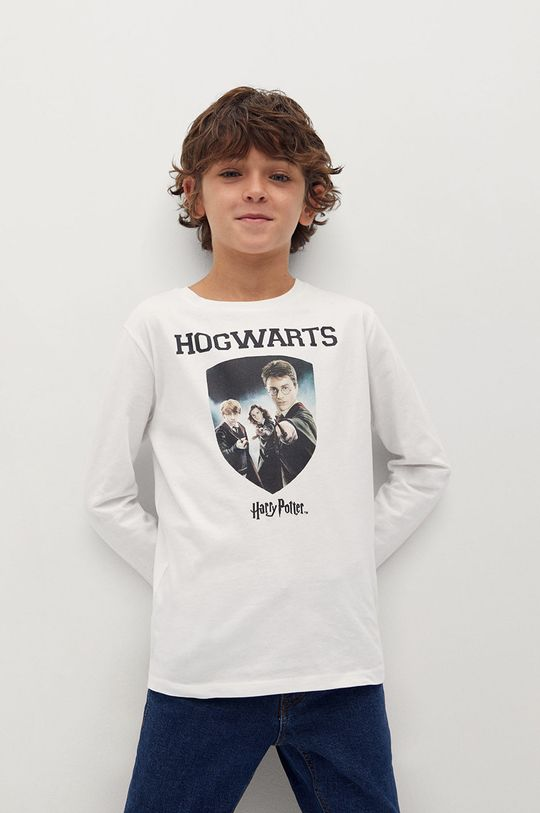 білий Mango Kids - Дитячий лонгслів Hogwarts 110-164 cm Для хлопчиків