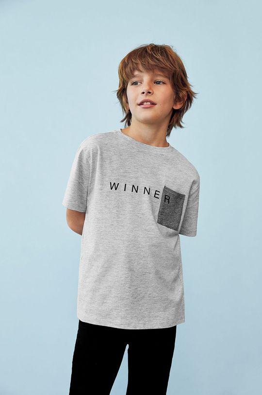 Mango Kids - Tricou copii WINNER gri