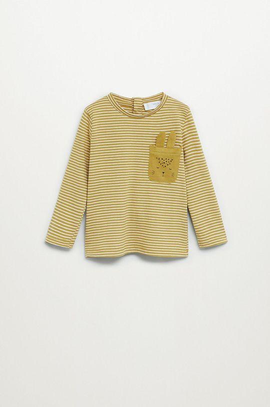 žltá Mango Kids - Detské tričko s dlhým rukávom Cami 80-104 cm Dievčenský