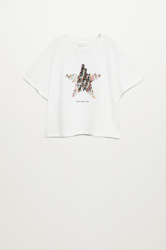 alb Mango Kids - Tricou copii Star 110-164 cm De fete